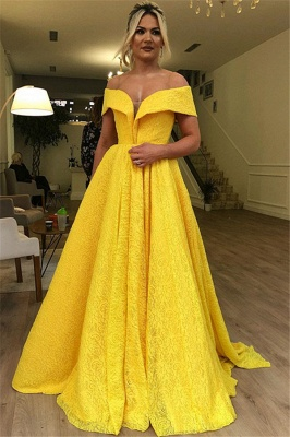 Gorgeous A-Line Off The Shoulder Lace Yellow Long Prom Dress_1