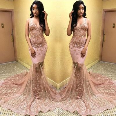 Sexy Pink Sleeveless Spaghetti Straps  Appliques Mermaid Long Prom Dress_2