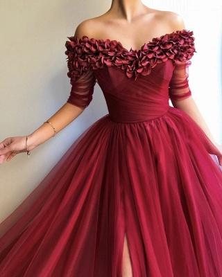 Burgundy A-line Off The Shoulder  Flower Applique Long Prom Dress_4