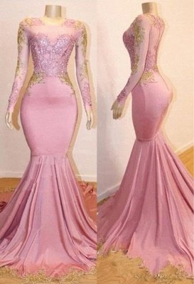 Pink Appliques Long Sleeves Prom Dresses | 2019 Gorgeous Mermaid Evening Gowns_3