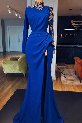 Royal Blue High Neck Side Slit Mermaid Prom Dresses | Elegant Long Sleeves Appliques Evening Gowns_1