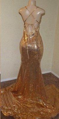 Sequins Sleeveless Front Slit Floor Length Mermaid Dresses_4