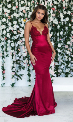 Burgundy Sleeveless Mermaid Backless Prom Dresses | Cheap Spaghetti-Straps Lace Appliques Evening Gowns_1