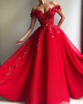 Glamorous Ball Gown Off The Shoulder Applique Flowers Evening Dresses_2
