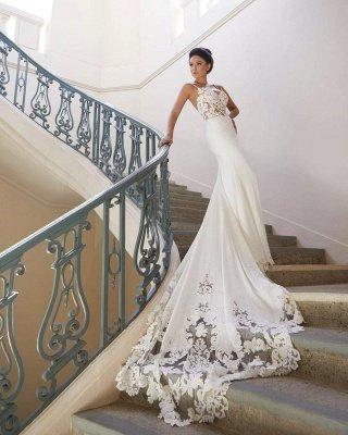 Sexy Spaghetti Strap Wedding Dress | Mermaid Chiffon Lace Bridal Dress_4