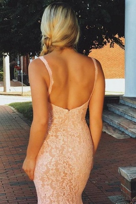 Gorgeous Pink Lace Spaghetti-Straps Sexy Mermaid Prom Dresses_2
