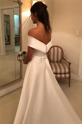 Glamorous Off-the-Shoulder Wedding Dresses with Bowknot Ribbons_2