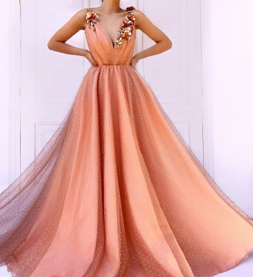 Orange Flower Appliques Straps Sleeveless Mesh  Prom Dress_3