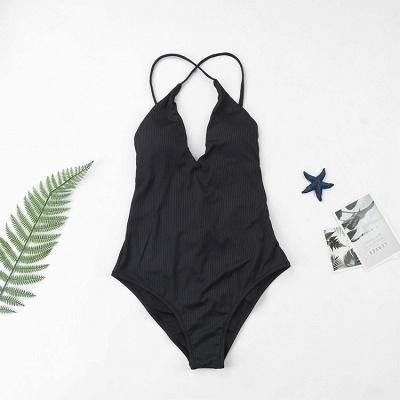 Plain V-neck Criss-cross Bandage One Piece Swimsuits_15