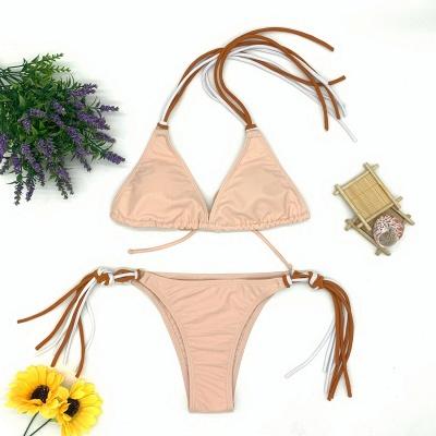 Triangle Pads Halter Straps Multicolor Two Piece Sexy Bikini Sets_10