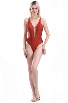 Kwyhole V-neck Criss-cross High Waist Swimsuits_1