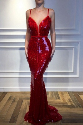 Red Spaghetti-Straps Sleeveless Sequins Sexy Mermaid Prom Dresses_2