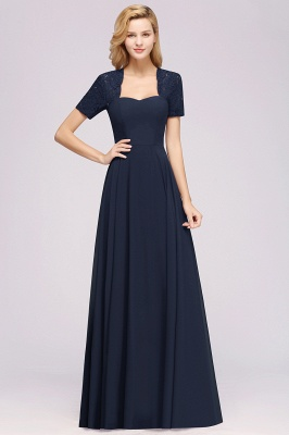 A-Line Chiffon Bridesmaid Dresses | Sweetheart Cap Sleeves Lace Wedding Party Dresses_19