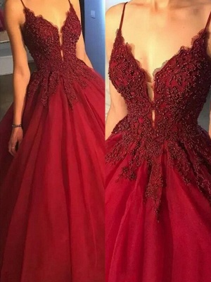 Sexy Spaghetti Straps Beaded Ball Gown Appliques Lace Prom Dresses_2