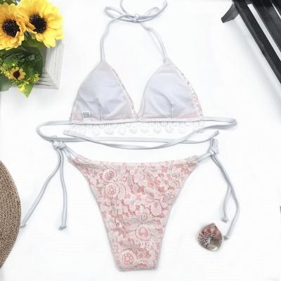 Cute Lace V-neck Two Piece Bandage Sexy Bikini Swimwear_6