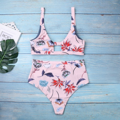 Flower Prints Pink Two Piece Lovely Sexy Bikini Swimwear_3