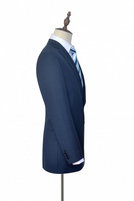 Dark Grey Blue Notched Lapel Custom Suit For Men   Fashion Single Breasted Two Botton Business Men Suit_5
