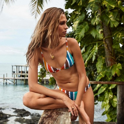 Colorful Stripes Triangle Pads Two Piece Sexy Bikini Sets_5
