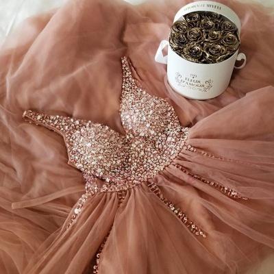 Straps V-Neck Appliques A-Line Prom Dresses_3