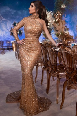 Glamorous Hign-Neck One-Shoulder Sequins Sexy Mermaid Evening Gown_1