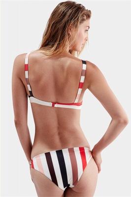 Stylish Stripes Spaghetti Straps Knot Two Piece Sexy Bikinis_5