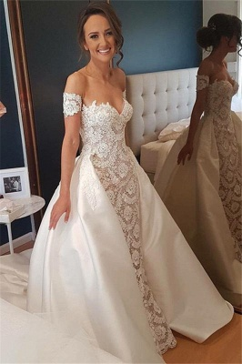 Stunning Lace Appliques Sweetheart Wedding Dresses_1