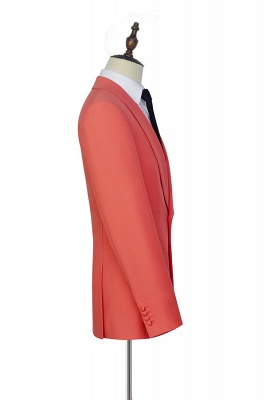 New Arrival Single Breasted One Button 2 Pocket Tailored Suit   Watermelon Red Shawl Collar Custom Suit Groom Wedding Tuxedos_5