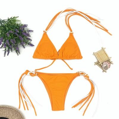 Triangle Pads Halter Straps Multicolor Two Piece Sexy Bikini Sets_7
