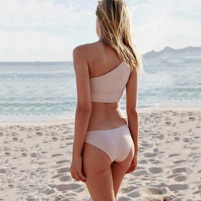 Casual One-shoulder Ribbon Bow Two Piece Sexy Bikini Sets_5