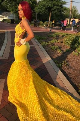 Yellow Halter Backless Sleeveless Applique Sexy Mermaid Evening Dresses_3
