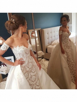 Stunning Lace Appliques Sweetheart Wedding Dresses_2