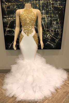 Sleeveless Golden Appliques Mesh Button Sexy Mermaid Prom Dresses_3