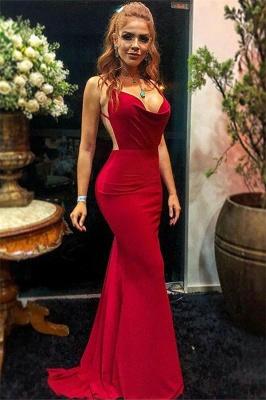 Sexy Burgundy Spaghetti-Straps Backless Sexy Mermaid Prom Dress_1