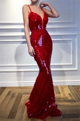 Red Spaghetti-Straps Sleeveless Sequins Sexy Mermaid Prom Dresses_1