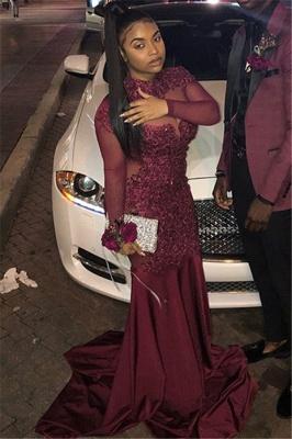 Burgundy High-Neck Long-Sleeves Sheer-Mesh Applique Prom Dress_2