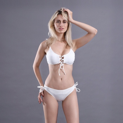 Spaghetti Straps Lace-up Bras Two Piece Sexy Bikini Swimsuits_8