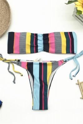 Colorful Bateau Strapless  Two Piece Sexy Bikini Swimwear_1