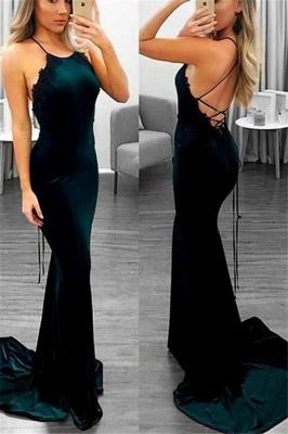 Sexy Lace Up Halter Applique Sleeveless Prom Dresses   Mermaid Cheap Popular Evening Dresses_1