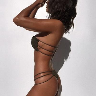 Solid Bandage Strapless Two Piece  Sexy Bikini Sets_9