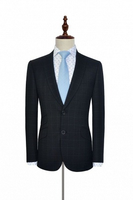 Black Checked Wool Three Slant Pocket Classic Suit For Men | Single Breasted Peaked Lapel Made to Measure Men Business Suit_3