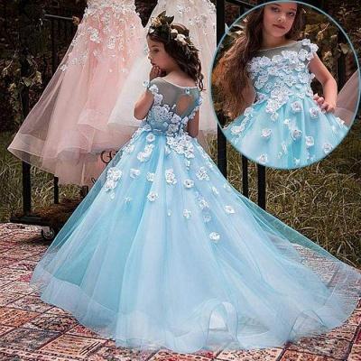 Lovely Wholesale Tulle Square Neckline Tea-length A-line Ice Blue Flower Girl Dress_4