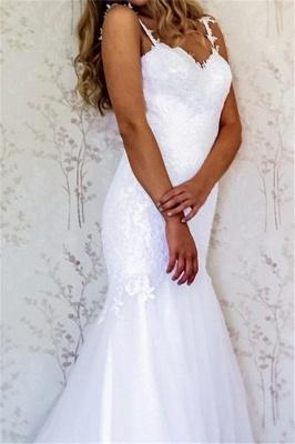 Straps Lace Appliques Mermaid Wedding Dresses_2