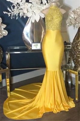 Yellow Appliques High-Neck Sexy Mermaid Prom Dress_1