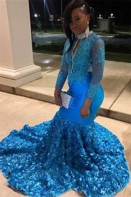 Glamorous Blue Sheer Mesh Lone-Sleeves Flower Applique Sexy Mermaid Prom Dresses_3