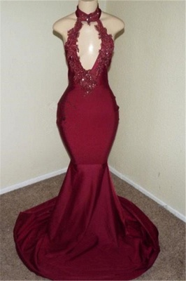 Burgundy Halter Appliques Backless Sexy Mermaid Prom Dresses_1