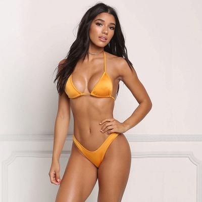 Simple Triangle Pads High Waist Two Piece Sexy Bikini Sets_2