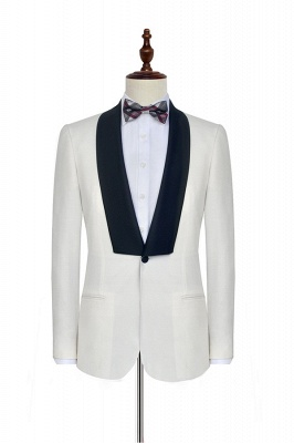 White Shawl Collar Single Breasted Wedding Suit | New Arrival 2 Pocket Custom Suit For Men_3