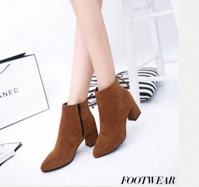 Chunky Heel Daily Lace-up Pointed Toe Zipper Elegant Boots_2