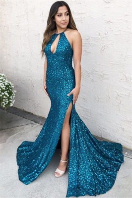 Glamorous Blue Halter Sequins Side-Slit Criss-Cross Sexy Mermaid Prom Dress_1