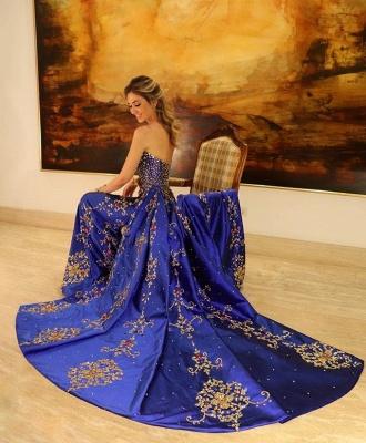Gorgeous Strapless Applique Sleeveless A-Line Long Prom Dress_2